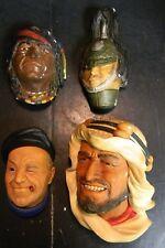 Vintage Lot of (4) Bossons Chalkware Heads Karim, Boatman, Navajo, Soldier GD-VG