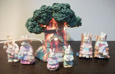 Easter Bunny Family Rabbit Figurines Decoration Lot of 7 Light Up House ~ New