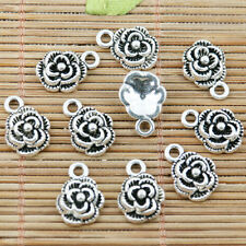 20pcs tibetan silver plated rose flower charms EF2366