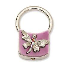 Tone Key Fob 1928 Boutique Dragonfly w/ Crystals Purple Enamel Silver