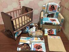 Barbie baby Nursery Set Furniture ,crib ,sofa ,carrier.Moana