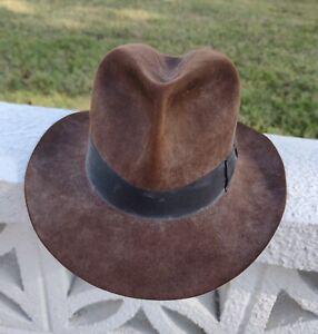 90s Fedora Navy Black Soft Wool Felt Fedora With Braided Hat Band Fedora for Men Fedora for Women Vintage Western Fedora Hat Size 7 18