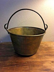 "Vintage Antique Spun Brass Bucket 10"" x 7"" Planter or Décor"