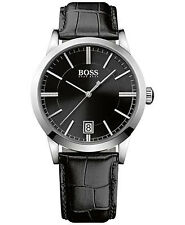 Hugo Boss 1513129 Men's Black Black Leather Band with Black  Dial Watch