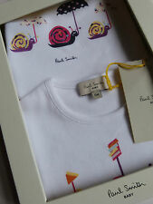 Paul Smith Baby Bib & T-Shirt Boxed Gift Set White 100% Cotton 6M