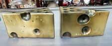 Mid Century Hollywood Regency Brass Alloy Cheese Wedge Pencil Holder Bookends