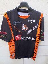 Maillot rugby porté n°18 ALBI R.L  XIII Duarig match worn shirt noir orange M