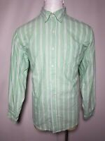 Chaps XL Green Blue White Striped Men's Casual Button-Down Shirt - Extra Large