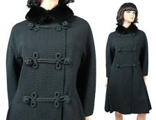 Vintage Princess Coat S M 50s 60s Black Wool Mink Collar Military Flared Jacket