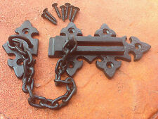 Vintage Hardware Collection Fleur De Lys Security Door Chain Guard Forged Iron