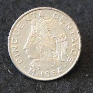 1964 Mexican 50 Centavos in AU Condition Nice Collectible Coin!