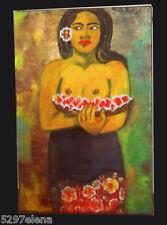 MEONI  gauguin DONNA  POLINESIANA CON FIORI   acrilico su tela 40x60  quadro