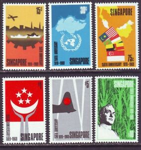 Singapore 1969 SC 101-106 MNH Set Founding 150th Anniversary