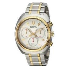 Bulova Men's Watch Curv Chrono Silver Tone Dial Two Tone Steel Bracelet 98A157