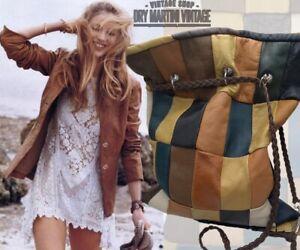 VINTAGE LEATHER DRAWSTRING SHOULDER BAG 1960s 70s PATCHWORK HIPPY BOHO FESTIVAL