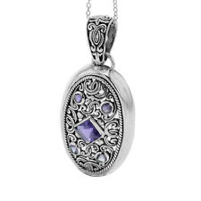 "Sterling Silver Bali Amazthyst Floal Filigree Women's Pendant/Necklace 18"""