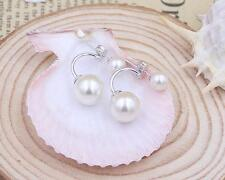 Women Fashion Jewerly Earrings Silver Double Shell Pearl Ear Stud