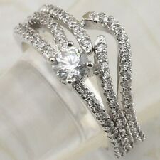 2in1 Size 7 Wonderful White CZ Gems Jewelry Gold Filled Wedding Ring Sets R2220