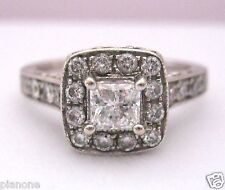 1.00 Carat 14k WG Natural Diamond Ring Vintage Inspired Halo Design Kays Engagem
