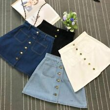 High Waist Mini Skirts For Ladies Sexy A-line Denim Button Front Casual Attires