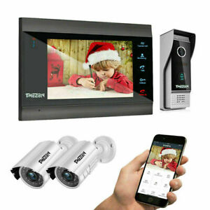 "TMEZON Wlan Video Türsprechanlage 4-Draht 7"" IP Monitor 2x Überwachungskamera"