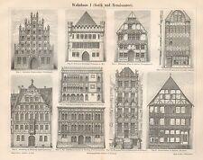 B6556 Edifici Gotici e Rinascimentali - Incisione antica 1890 - Engraving