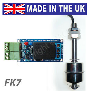 IACS Water Level Float Switch Kit DC/AC Stainless Steel 75mm Liquid Relay FK7 UK