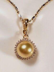 rich golden South Sea pearl pendant/enhancer, diamonds, solid 14k yellow gold.