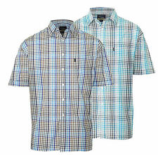 Men's Regular Collar Short Sleeve Check Cotton Blend Casual Shirts & Tops