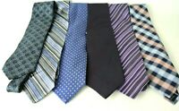 Men's Assorted Multi-Color Dress Neck Ties Lot Of 6 ALL SILK Blue Colors#1008