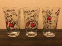 Disney Sketchbook Mickey Mouse CHRISTMAS SET 3 GLASS TUMBLERS DRINKING GLASSES