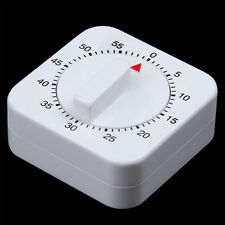 Round Cook Baking White Food Kitchen Square Mechanical Timer 60 Minutes