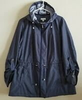 Susan Graver Water Resistant Packable Anorak Jacket size XL Navy Blue Polka Dot