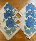 6pc Set NEW Vintage Cotton Cacharel Napkins - Blue Flower/Green leaf  on Cream