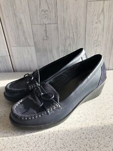 Hotter Tayna Blue Leather Wedge Heel Loafer Shoes, Tie Bow Uk4 Eu37 New
