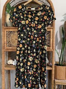 90s Tie Back Floral Dress Vintage Ladies Dress