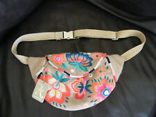 ACCESSORIZE BUM BAG BNWT HESSIAN EMBROIDERED FLORAL ADJUSTABLE STRAP HIP BAG