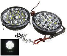 2 x White 12V 18 LED Round Daytime Running Light DRL Car Fog Day Driving Lamp