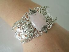 Rose Quartz Triple Moon Cuff Bracelet, wiccan pagan wicca witch witchcraft