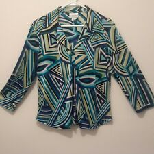 Women's Geometric Print 3/4 Sleeved Button Down Blouse-Size LARGE by Fashion Bug