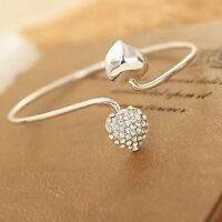 Mode Kristall Liebe Herz Frauen versilbert Armreif Manschette Armband ewelryXUI