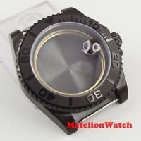 40mm PVD black watch case steel sapphire glass fit ETA 2836 Miyota 82 movement