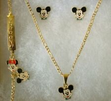 18k Gold filled Disney CLASSIC MICKEY MOUSE 4pc Girl Necklace HOLIDAY Gift set