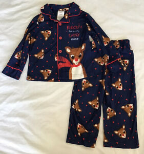 Toddler Baby Kids Girls Boys Christmas Rudolph Tops Pants Pajamas Set Size 2T