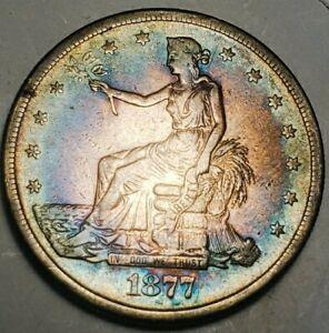 1877 S TRADE SILVER DOLLAR  / KEY DATE/ AUTHENTIC GURRANTE. 799