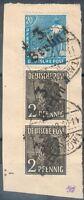 SBZ-Bezirkshandstempel Kleines Briefstück mit Mi.-Nr.2x 166, 173 -3 Berlin 4