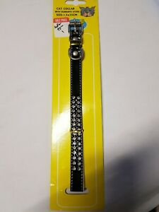 Collar Cat Pet Black Shiny With 2 Rows Diamentes Buckle Bell 30cm