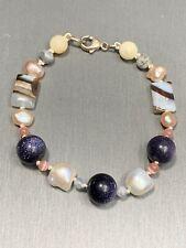 Sterling Silver Freshwater Pearl Purple Sun Stone Jasper Gorgeous Beads Bracwlwr