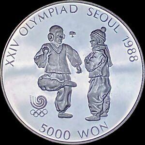 1987 South Korea 5000 Won (Silver) - 1988 Seoul Olympics - Chegi Kicking