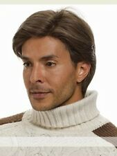 Men Handsome Short Dark Brown Straight Hair Synthetic Costume Party Full Wigs